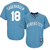 Majestic Men's Replica Kansas City Royals Bret Saberhagen Cool Base Light Blue Cooperstown Jersey