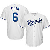 Majestic Men's Replica Kansas City Royals Lorenzo Cain #6 Cool Base Home White Jersey