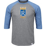 Majestic Men's Kansas City Royals Cooperstown Grey/Light Blue Raglan Three-Quarter Sleeve Shirt