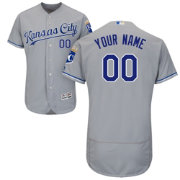Majestic Men's Custom Authentic Kansas City Royals Flex Base Road Grey On-Field Jersey