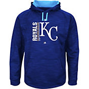 Majestic Men's Kansas City Royals Therma Base On-Field Royal Authentic Collection Pullover Hoodie