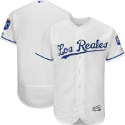 Majestic Men's Authentic Kansas City Royals Alternate Los Reales White Flex Base On-Field Jersey