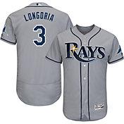 Majestic Men's Authentic Tampa Bay Rays Evan Longoria #3 Road Grey Flex Base On-Field Jersey