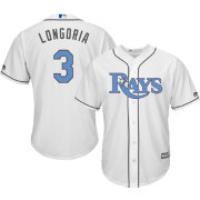 Majestic Men's Replica Tampa Rays Evan Longoria #3 2016 Father's Day Cool Base Home White Jersey