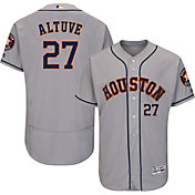 Majestic Men's Authentic Houston Astros Jose Altuve #27 Road Grey Flex Base On-Field Jersey