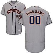 Majestic Men's Custom Authentic Houston Astros Flex Base Road Grey On-Field Jersey
