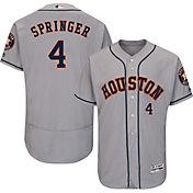 Majestic Men's Authentic Houston Astros George Springer #4 Road Grey Flex Base On-Field Jersey