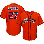 Majestic Men's Replica Houston Astros Jose Altuve #27 Cool Base Alternate Orange Jersey