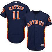 Majestic Men's Authentic Houston Astros Evan Gattis #11 Alternate Navy Flex Base On-Field Jersey