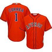 Majestic Men's Replica Houston Astros Carlos Correa #1 Cool Base Alternate Orange Jersey
