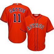 Majestic Men's Replica Houston Astros Evan Gattis #11 Cool Base Alternate Orange Jersey