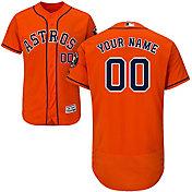Majestic Men's Custom Authentic Houston Astros Flex Base Alternate Orange On-Field Jersey