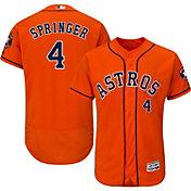 Majestic Men's Authentic Houston Astros George Springer #4 Alternate Orange Flex Base On-Field Jersey