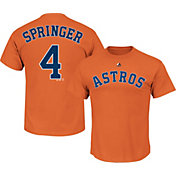 Majestic Men's Houston Astros George Springer #4 Orange T-Shirt