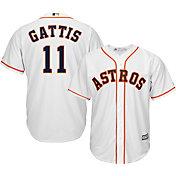 Majestic Men's Replica Houston Astros Evan Gattis #11 Cool Base Home White Jersey