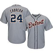 Majestic Men's Replica Detroit Tigers Miguel Cabrera #24 Cool Base Road Grey Jersey