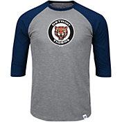 Majestic Men's Detroit Tigers Cooperstown Grey/Navy Raglan Three-Quarter Sleeve Shirt