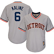 Majestic Men's Replica Detroit Tigers Al Kaline Cool Base Grey Cooperstown Jersey