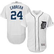 Majestic Men's Authentic Detroit Tigers Miguel Cabrera #24 Home White Flex Base On-Field Jersey
