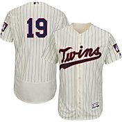 Majestic Men's Authentic Minnesota Twins Kennys Vargas #19 Alternate Ivory Flex Base On-Field Jersey