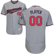 Majestic Men's Full Roster Authentic Minnesota Twins Flex Base Road Grey On-Field Jersey