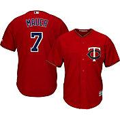 Majestic Men's Replica Minnesota Twins Joe Mauer #7 Cool Base Alternate Red Jersey