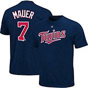 Majestic Triple Peak Men's Minnesota Twins Joe Mauer Navy T-Shirt