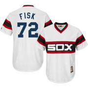 Majestic Men's Replica Chicago White Sox Carlton Fisk Cool Base White Cooperstown Jersey