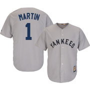 Majestic Men's Replica New York Yankees Billy Martin Cool Base Grey Cooperstown Jersey