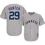 Majestic Men's Replica New York Yankees Catfish Hunter Cool Base Grey Cooperstown Jersey