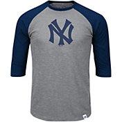 Majestic Men's New York Yankees Cooperstown Grey/Navy Raglan Three-Quarter Sleeve Shirt