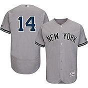 Majestic Men's Authentic New York Yankees Starlin Castro #14 Road Grey Flex Base On-Field Jersey