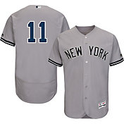 Majestic Men's Authentic New York Yankees Brett Gardner #11 Road Grey Flex Base On-Field Jersey