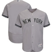 Majestic Men's Authentic New York Yankees Road Grey Flex Base On-Field Jersey