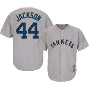 Majestic Men's Replica New York Yankees Reggie Jackson Cool Base Grey Cooperstown Jersey