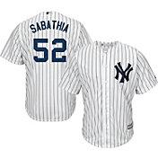 Majestic Men's Replica New York Yankees CC Sabathia #52 Cool Base Home White Jersey