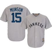 Majestic Men's Replica New York Yankees Thurman Munson Cool Base Grey Cooperstown Jersey
