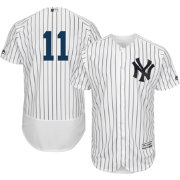 Majestic Men's Authentic New York Yankees Brett Gardner #11 Home White Flex Base On-Field Jersey