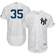 Majestic Men's Authentic New York Yankees Michael Pineda #35 Home White Flex Base On-Field Jersey