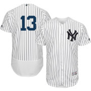 Majestic Men's Authentic New York Yankees Alex Rodriguez #13 Home White Flex Base On-Field Jersey