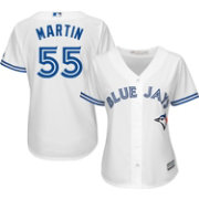 Majestic Women's Replica Toronto Blue Jays Russell Martin #55 Cool Base Home White Jersey