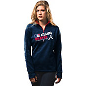 Majestic Women's Atlanta Braves On-Field Navy Authentic Collection Quarter-Zip Pullover