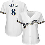 Majestic Women's Replica Milwaukee Brewers Ryan Braun #8 Cool Base Home White Jersey