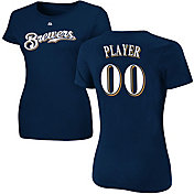 Majestic Women's Full Roster Milwaukee Brewers Navy T-Shirt