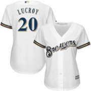 Majestic Women's Replica Milwaukee Brewers Jonathan Lucroy #20 Cool Base Home White Jersey