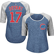 Majestic Women's Chicago Cubs Kris Bryant #17 Royal/Grey Raglan Three-Quarter Sleeve Shirt