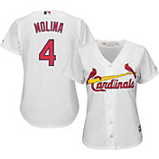 Majestic Women's Replica St. Louis Cardinals Yadier Molina #4 Cool Base Home White Jersey