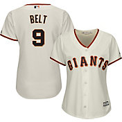 Majestic Women's Replica San Francisco Giants Brandon Belt #9 Cool Base Home Ivory Jersey