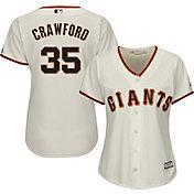 Majestic Women's Replica San Francisco Giants Brandon Crawford #35 Cool Base Home Ivory Jersey