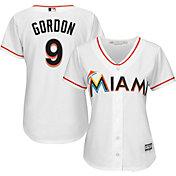 Majestic Women's Replica Miami Marlins Dee Gordon #9 Cool Base Home White Jersey